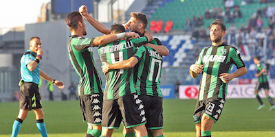esultanza del Sassuolo nel derby contro il Carpi