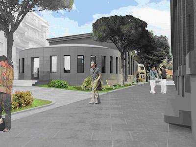 leon battista alberti - Vista del complesso entrando da piazza Ferrari