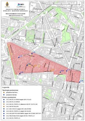 Bologna mappa Zona Pratello