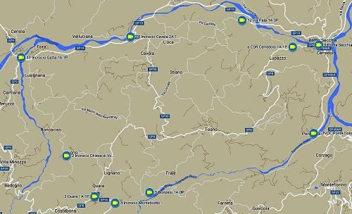 La mappa del sistema di videosorveglianza nelle strade di accesso al territorio comunale di Toano