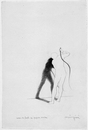15_Claudio Parmiggiani -1943- Uomo che frusta la propria ombra- 1983- matita su carta- Galleria civica di Modena