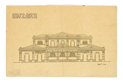 Frigorifero Comunale- Prospetto principale del progetto originale- 1906