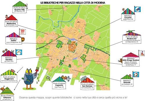 Mappa BIBLIOTECHE PER RAGAZZI PUNTI DI LETTURA a Modena