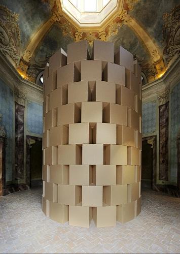 zimoun prepared dc-motors- cotton balls- cardboard boxes 60x60x60cm. Credits Paolo Terzi