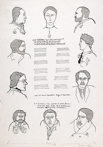 alfabeta Gianfranco Baruchello Bozzetto per Di-versi in versi- 1986- inchiostro su fotocopia- Coll. Galleria civica di Modena