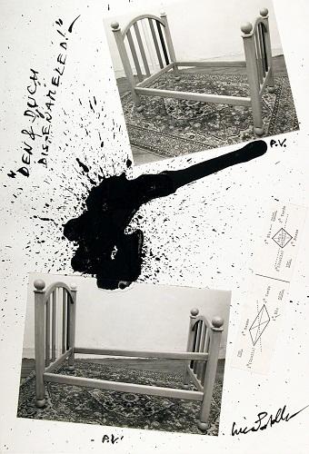 alfabeta Luca Patella- Dem-Duch Dis-Enameled- 1986- collage- 377 x 260 mm- Collezione Galleria civica di Modena.