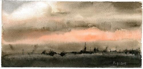 acquerello con tramonto