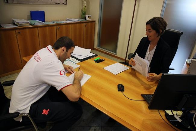 Markoishvili, Nevels, Sanè, Vene e Wright in visita all'Agenzia Emil Banca di Largo Gerra