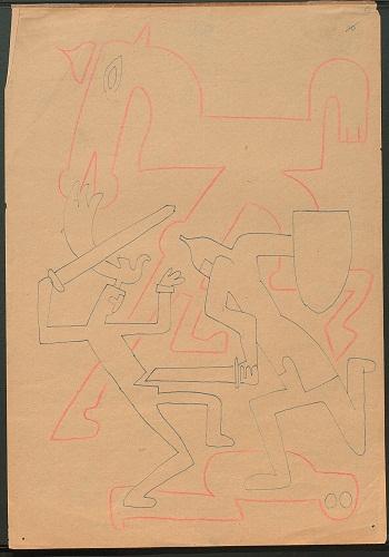 Sergej M. Ejzenstejn- dal ciclo Gedanken zur Musik- 1938- penna e matita rossa su carta- Archivio Statale di Letteratura e Arte di Mosca -RGALI
