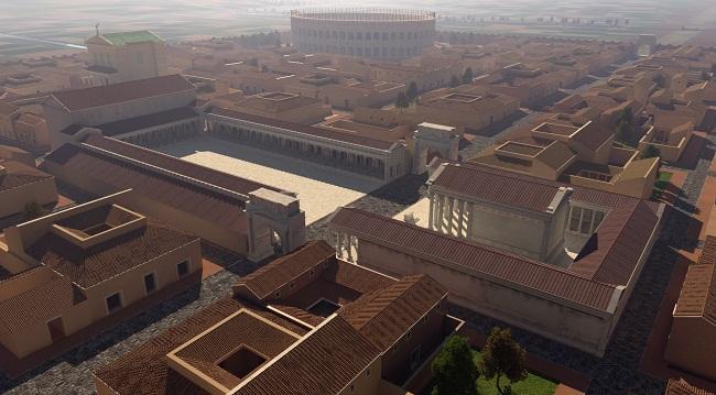 030 Ricostruzione virtuale di Mutina- Foro e anfiteatro sullo sfondo. A cura di Altair4