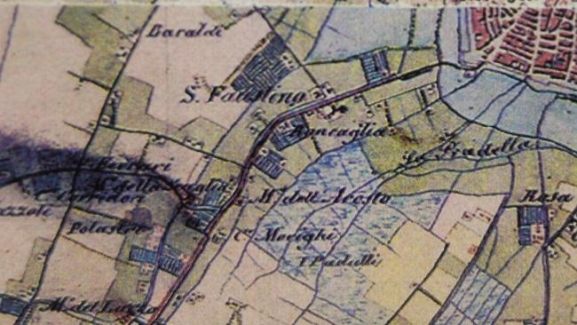 Carta Carandini- 1828- Particolare territorio Borgo San Faustino