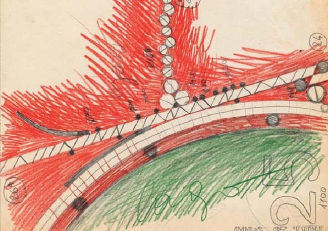 Parco Amendola- Modena -Cesare Leonardi e Franca Stagi- 1981- Disegno di studio dei nodi dei percorsi